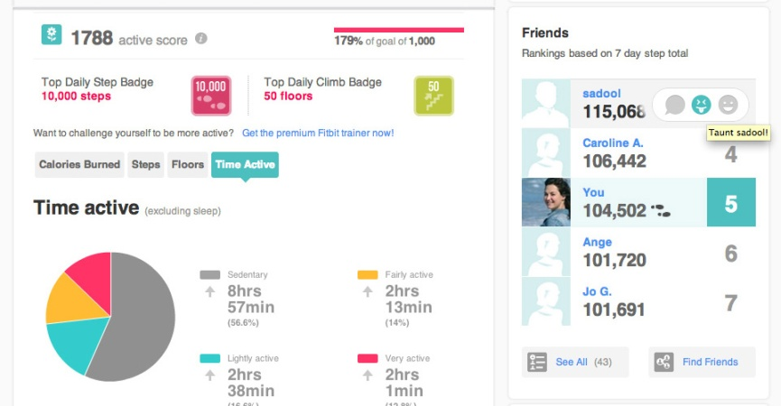 The Fitbit.com Dashboard shows me my activity levels of the day and allows me to easily see where my activity scores rank amongst my friends. I'm able to Taunt or Cheer friends easily by clicking an icon.